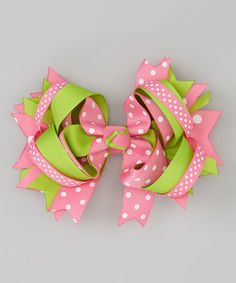 Love this Pink & Lime Polka Dot Princess Bow Clip by Bubbly Bows on #zulily! #zulilyfinds