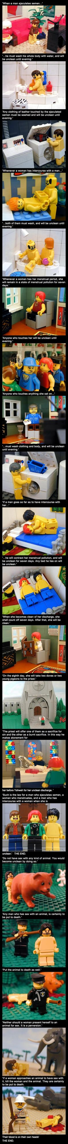 Laws from Leviticus, delivered through 'artfully' posed LEGOs. LMFAO!!!