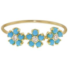 Jennifer Meyer Turquoise and Diamond Flower Trio Ring (€890) ❤ liked on Polyvore featuring jewelry, rings, turquoise, diamond rings, turquoise stacking ring, flower rings, triple diamond ring and thin diamond ring