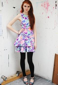 1980's cute floral cut out dress size 8