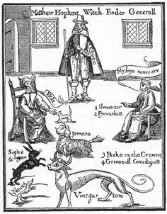 """Matthew Hopkins, en quizás el nombre más famoso en la historia de la brujería Inglés, pero más comúnmente se le conocía como """"El General de cazador de brujas"""".   A lo largo de su reinado de terror 1644-1646, fue responsable de las condenas y ejecuciones de unos 230 personas acusadas de brujería, más que todos los otros cazadores de brujas juntos durante el pico de 160 años de la histeria de la brujería en el país."""