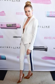 Gigi Hadid wearing Smythe Cropped Tux Stripe Boy Pants, Smythe Anytime Blazer and Gianvito Rossi Suede Pumps