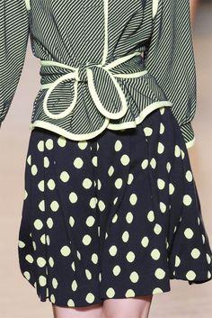 Marc Jacobs - Navy & white stripe blazer piped in white parred w/ flare panel polka dot skirt.