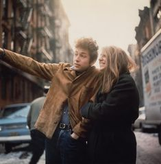 Bob Dylan and a smiling Suze Rotolo in 1963.