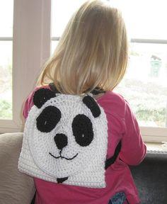 Crochet Pattern Panda Bear Backpack Toddlers by kickincrochet