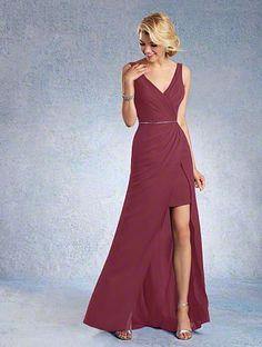 I LOOOOOOOOVE this for @nicholeataylor ! A Chiffon Bridesmaid Dress with an Asymmetric Split-Front Floor-Length Skirt, Beaded Waistline, and Sleeveless, Mirroring V-Shaped Necklines