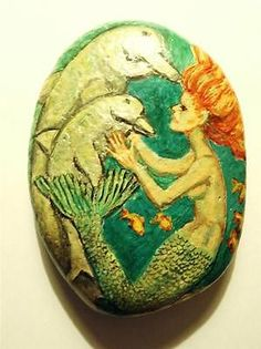 Mermaid-Hand-Painted-Rock-Stone-Original-Art-Dolphin-ocean-sea-shore-fish-mammal