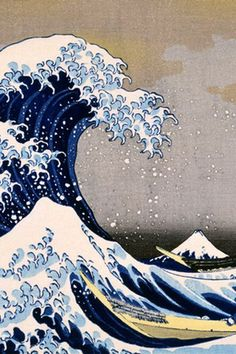 "A painting that is from generations ago yet is probably one of the most recognizable pieces of artwork not to mention it is also an emoji. This notorious Japanese masterpiece of the waves are a wonderful representation of nature in one of its rawest forms. The waves are monstrous and full of power and mystique. ""Thirty-six Views of Mount Fuji"" woodblock print by KATSUSHIKA Hokusai (1760-1849), Japan 葛飾北斎 富嶽三十六景"