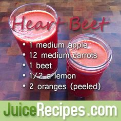 Heart Beet Juice Recipe--gives a great energy boost and tastes terrific! #juice #healthy #cleanse