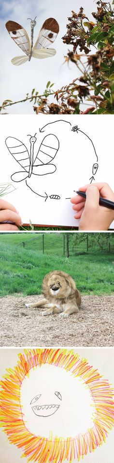 A Child's Drawings Turned Into Realistic Imaginings of Animals, Cars, and People