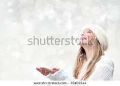woman with snow christmas background