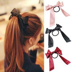 Fashion Women Ribbon Bow Hair Band Scrunchie Hair Tie Rope Ponytail Holder    eBay