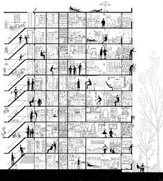 A section drawing about an apartment building. The tenants all go about their lives, oblivious to the fact that there are more people around them. In a way, a snapshot of life. Architecture Board, Architecture Graphics, Architecture Drawings, Landscape Architecture, Architecture Design, Planer Layout, Section Drawing, Elevation Drawing, Building Drawing