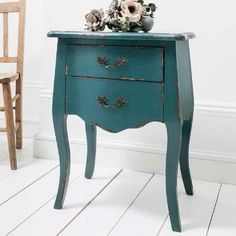Teal French Style Bedside Chest