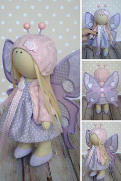 Butterfly doll Muñecas Art doll Fabric doll Rag doll Baby doll Violet doll Bonita Tilda doll Handmade doll Cloth doll Textile doll by Olga G