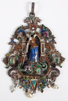 To be sold at our April 2014 antique auction Lot 2038: Baroque style enameled silver St. George pendant 19th century, with colored stones and 3 dangling pearls, about 3 in. L.; 37.6 grams