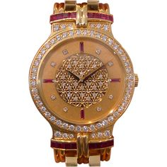 1STDIBS.COM Jewelry & Watches - Patek Philippe - PATEK PHILIPPE --- Ruby & Diamond Yellow Gold Watch Ref. 3964 - Philippe's Watches found on Polyvore