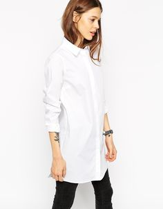 Image 1 of ASOS Longline White Shirt
