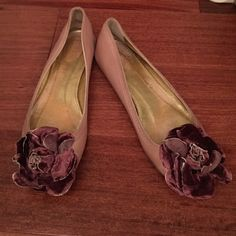 J. Crew Collection Velvet Flower Ballet Flats Velvet flowers in the front (slightly bent - as pictured). Wear on the back (also as pictured) but overall in good shape. J. Crew Shoes Flats & Loafers