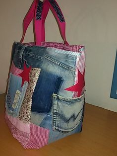 35-GRAND SAC CABAS JEAN ET CAMAIEU ROSE