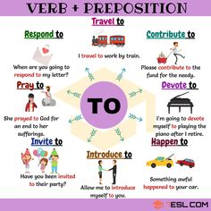 Verb + To: Common Combinations With TO - 7 E S L : verb collocations with the preposition TO Verb + To Combinations! List of common verb preposition combinations with to with ESL picture and example sentences in English. English Prepositions, English Sentences, English Verbs, Kids English, English Writing, English Study, English Grammar, English English, Advanced English Vocabulary