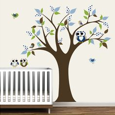 Wall Decal Tree and Birds/owls Nursery and Kids by Modernwalls, $99.00