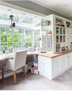 Amazing Craft Room Tour - Micaela Ferrero - Craft Room Tour Virtual y Sorteo de una Big Shot lots of natural light, good camera setup 30 Awesome Craft Rooms Design Ideas love the vertical shelving for art drawings, lots of storage possibilities 50 of the Craft Room Design, Craft Space, Sewing Room Design, Craft Room Decor, Space Crafts, Room Decorations, Hardscape Design, Craft Room Storage, Art Studio Storage