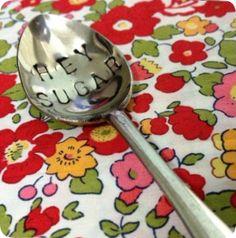 Hey Sugar Stamped Cutlery by Margaret's Blanket xx
