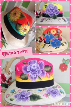 Sombreros pintados a mano Birthday Cake, Cap, Crafts, Mardi Gras, Turbans, Bottles, Caps Hats, Accessories, Blue Prints