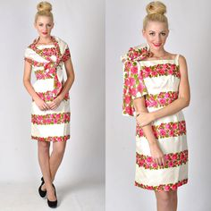 Vtg 50s 60s Ivory Pink 100% Silk Cocktail Party dress Floral Rose convertible xs