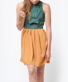 Take a look at this Teal & Mustard Brighton Dress by Dear Creatures on #zulily today!