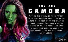 I took Zimbio's 'Guardians of the Galaxy' quiz and I'm Gamora! Who are you? #ZimbioQuiz