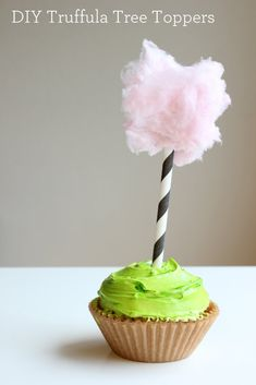 Cotton candy topped cupcakes.  Darling idea for baby girl's birthday. Maybe simple enough for me to do!