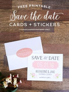 Get your wedding budget off to a good start by downloading these free customizable save the date cards + stickers for your envelopes! // Designs from Elegance and Enchantment