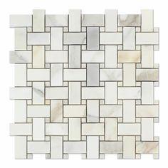 Calacatta Gold Italian Calcutta Marble Polished Basketweave Mosaic Tile with Calacatta Gold Marble Dots Calcutta Marble, Calacatta Gold Marble, Marble Tiles, Calacatta Oro, Color Marble, Gray Marble, Stone Mosaic Tile, Mosaic Tiles, Mosaic Bathroom