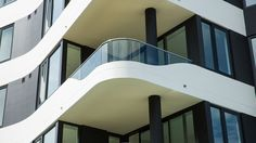 Balcony with Curved Glass Glass Pool Fencing, Pool Fence, Glass Balustrade, Curved Glass, Splashback, Balcony, Facade, Stairs, Windows