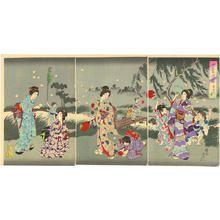 豊原周延: Summer- Women and children catching fireflies - Japanese Art Open Database
