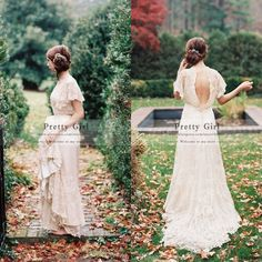 Top Fashion vestido de noiva 2015 Short Sleeve Sexy Backless Lace Boho Wedding Dresses Romantic Bohemian Wedding Bridal Gowns
