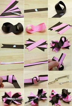 How To Make A Flower Loop Hair Bow - Jack skellington or Sally colors?Learn how to create a fun Flower Loop Hair Bow with lots and lots of layers of gorgeous ribbon. Handmade Hair Bows, Diy Hair Bows, Diy Bow, How To Make Hair, How To Make Bows, Hair Bow Tutorial, Barrettes, Hairbows, Scrunchies