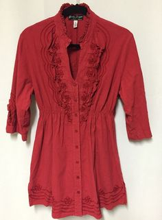 Gretty Zueger Top XL Womens Tunic Red Ruffles Embroidery Art To Wear Boutique #GettyZueger #Tunic #Casual