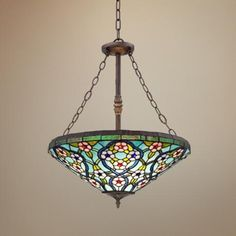 "Fairgreen Acres 20 1/2"" Wide Florette Tiffany Style Pendant -"