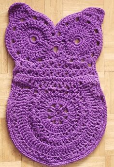 Owl Rug/ intermediate / FREE DOWNLOADABLE CROCHET pattern/ cute in toddler's, child's room