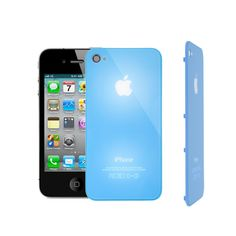Tapa trasera para iPhone 4 con logo luminoso, en color azul