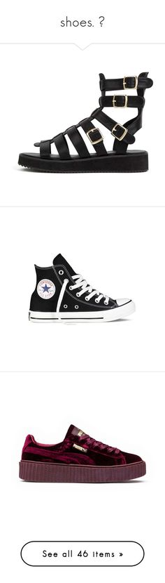 """""""shoes. 👟"""" by liluzi-pumpp ❤ liked on Polyvore featuring shoes, sandals, black, synthetic leather shoes, greek sandals, vegan shoes, vegan sandals, faux leather gladiator sandals, sneakers and casual shoes"""