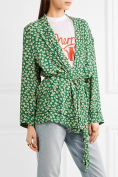 GANNI | Dalton floral-print crepe jacket | NET-A-PORTER.COM