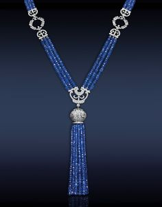 Jacob & Co. - Fine Jewelry - Blue Sapphire Tassel Necklace - Featuring: Ct Blue Sapphires Highlighted with Ct Pave' Set White Diamonds Mounted in Platinum by happy world Tassel Jewelry, Gemstone Jewelry, Tassel Necklace, Beaded Jewelry, Necklaces, Modern Jewelry, Fine Jewelry, Blue Sapphire Necklace, Pink Sapphire