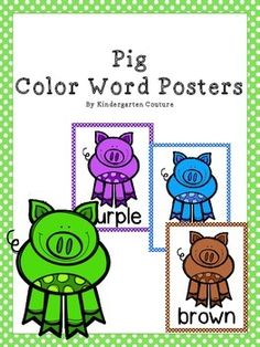 Help students recognize color words by hanging these Colorful Pig color word posters. They could be used with a pig or farm theme classroom. Colors include: yellow, red, purple, pink, orange, green, gray, white, brown, black, and blue.Pig Theme Word Wall Letters and 200 Fry Words