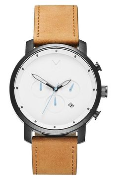 Free shipping and returns on MVMT Chronograph Leather Strap Watch, 45mm at Nordstrom.com. Three blank subdials mark the face of this minimalist chronograph watch set on a rugged topstitched leather strap.