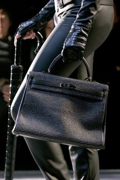 Black, STUDDED Kelly bag from Fall 2010 Hermes Runway show in Paris NEEED