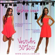 Aprovecha 30%Off en Vestidos Semana de la moda ZOCCA!  Vestido Corto A Los Lados Link Vestido Corto A Los Lados: http://www.zocca.com.co/vestidos-y-enterizos/vestido-corto-a-los-lados.html Precio: $ 109.990,00 Precio -30%: $ 76.993,00  Vestido Tiras Cruzadas Link Vestido Tiras Cruzadas: http://www.zocca.com.co/vestidos-y-enterizos/vestido-tiras-cruzadas-con-pliegues-en-falda.html Precio: $ 85.990,00 Precio -30%: $ 60.193,00  Valido hasta el 19 de Julio 2014 www.zocca.com.co SHOP ZOCCA ONLINE